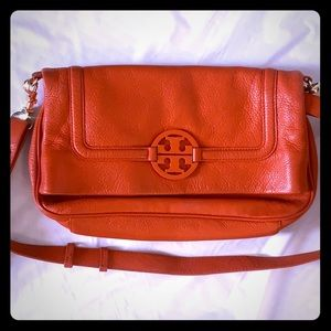 Tory Burch Orange Leather Crossbody 2 in 1